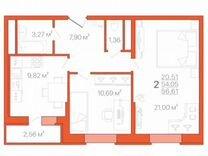2-к. квартира, 56,6м², 11/18эт.