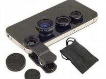 Накладные объективы к телефонам fisheye,wide,macro