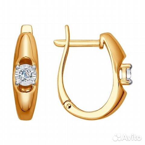 Золотые серьги с бриллиантами купить в Свердловской области на Avito ... e67774506a9