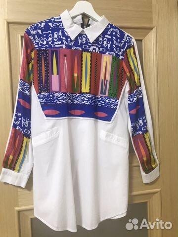 f1969cac613 Рубашка туника с шёлковыми цветными вставками