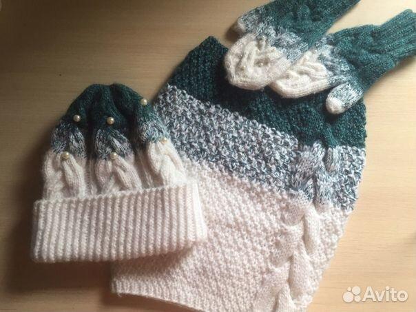 Комплект шапка, шарф,варежки